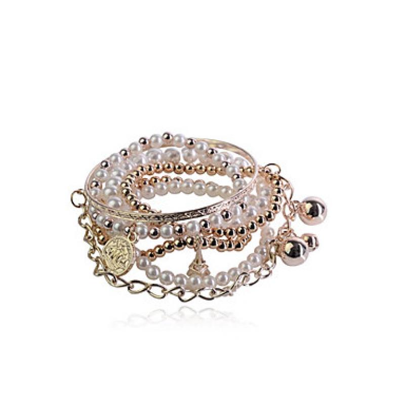 Hochzeits-Armband, weiß-gold mit Perlen, Maxando.eu