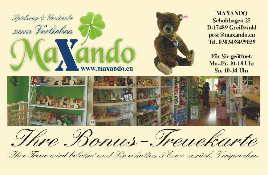 Bonuskarte von MAXANDO in Greifswald