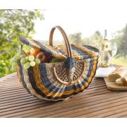 Gestreifter Picknickkorb aus Rattan