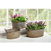 Blumenwannen aus Metall mit Holzgriffen, 3er Set