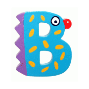 """Bunter Holzbuchstabe, Letter """"B"""""""
