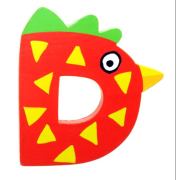 """Bunter Holzbuchstabe, Letter """"D"""""""