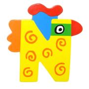 """Bunter Holzbuchstabe, Letter """"N"""""""