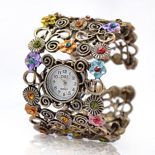 Damen Armreif gold mit Uhr und Applikationen