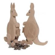 Spardose Känguru mit Kind aus Holz